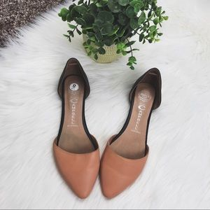 Jeffery Campbell D'Orsay Tan & Black Leather Flats